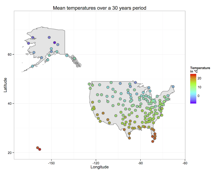 This map contains the data produced by the hadoop MapReduce, the average temperature measured by  weather stations located in the US over a 30 years period.